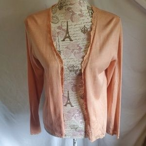Bloomingdales 100% silk cardigan beauty peach SM